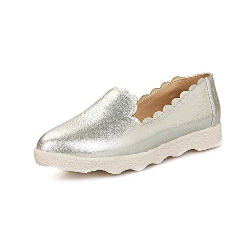Zapatos de Mujer Zapatos de Madre Solos Cabeza Redonda de Mujer mueva Sobre el Ocio Pedales Antideslizantes Planos Respirables Zapatos de Mujer Perezosa (Color : Plata, Tamaño : 37)