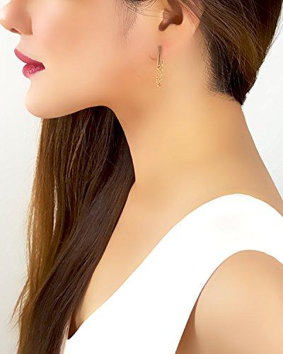 (18K Gold Plated Draped Chain Bar Stud Earrings New Womens JewelryLength: 1.25