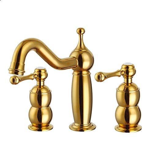 JingJingnet 流域ミキサータップ浴室のシンクの蛇口ヨーロッパの古典的なアンティークゴールド3穴蛇口シンクホットとコールドフル銅 (Color : N Gold) B07S4K1XMX N Gold