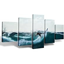 """Ink&flowerArt 5 Pieces Wall Decorations for Living Room Man Surfing in the Sea Wall Art Canvas Artwork Wall Décor on Canvas Wall Decor for Women Men for Wall Decor Ready to Hang 12""""x32"""""""