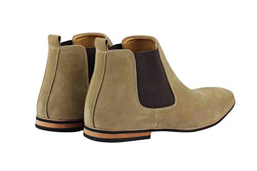 Xposed–Botas de ante Chelsea italiano estilo elegante y Casual Retro desierto concesionario Mid Tobillo Zapatos Beige