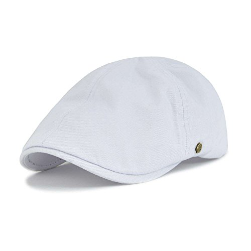 VOBOOM Cotton Flat Cap Cabbie Hat Gatsby Ivy Cap Irish Hunting Hat Newsboy (White) -
