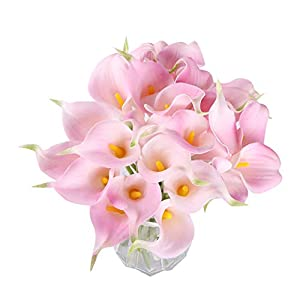 Fvstar 25pcs Calla Lily Bridal Wedding Bouquet Latex Real Touch Artificial Flower Arrangements Home Centerpieces Party Christmas Thanksgiving Day Decor 1