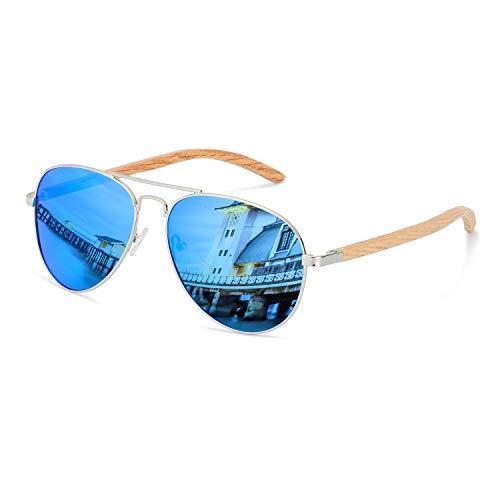 anteojos de sol de aviador de madera con lentes polarizadas para hombres y mujeres, protección UV400 (madera de roble),...