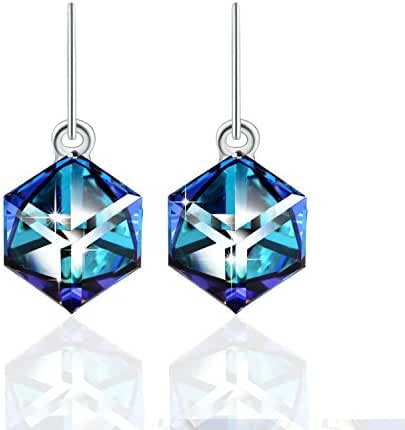 Drop Dangle Earrings PLATO H Color Change Earrings Heart Of Ocean Blue Drop Earrings with Swarovski Cube Crystal Woman Fashion Crystal Earrings, Ocean Blue And Purple