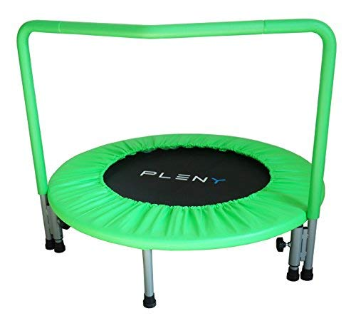 PLENY 36' Kids Mini Trampoline with Handle, Safety and Durable Toddler Trampoline - 3 Colors Available