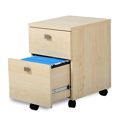 South Shore Interface 2-Drawer Mobile File Cabinet, Natural Maple - Maple Cabinet