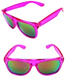 Men's Women's Flat top 80's Impero Retro Super Future Style Mirror lens Clear Sunglasses (Pink, Pink)