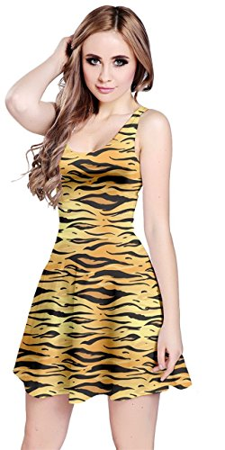 CowCow Womens Yellow Tiger Pattern Sleeve Dress, Yellow - XL