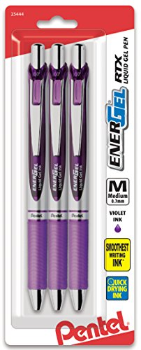 Pentel Pink BCA Pentel EnerGel Deluxe RTX Retractable Liquid Gel Pen Pack, 0.7mm, Medium Line, Metal Tip, Silver Barrel, Violet Ink, 3 Pack (BL77BP3V-BC)