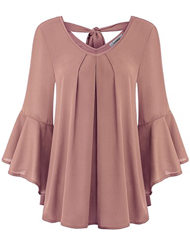 Finice Ruffle Blouse, Women's Boutique Clothing Scoop Neck Pleated Front Tunic Shirt Flattering Flowy 3 4 Bell Sleeve Solid Chiffon Blouse Top Daliy Party Wear Dark Pink XL