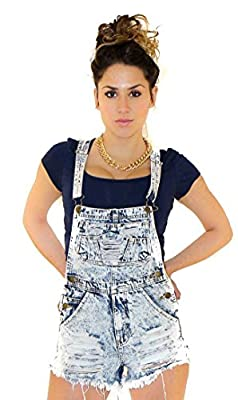 Acid Wash Distressed Denim Overalls in Blue