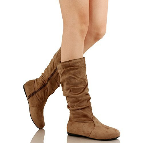 - Guilty Shoes Womens Mid Calf - Comfortable Slouchy - Solid Color Flat Heel Boots, Taupe Suede, 7.5