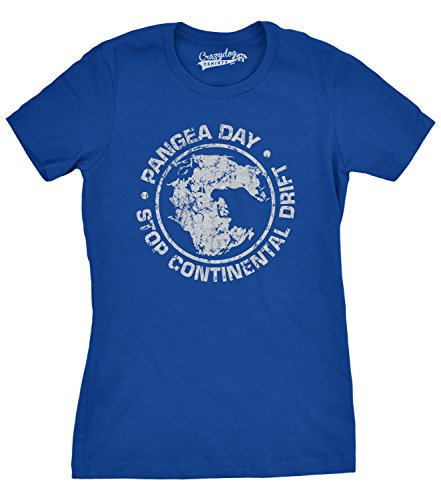 Crazy Dog TShirts - Women's Pangea Day Stop Continental Drift T Shirt Geography Tee for Women - Divertente Donna Magliette