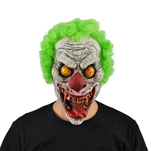 Hyaline&Dora Halloween Latex Clown Mask With Hair for Adults,Halloween Costume Party Props Masks (yellow (Scary Masks For Halloween For Sale)