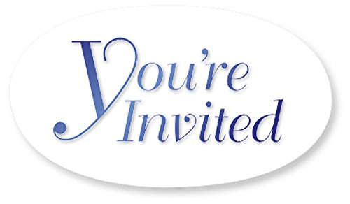 Blue You're Invited Smooth Edge Clear Oval Invitation Seals, 1 1/2 Inches, Self Adhesive, 30 Count