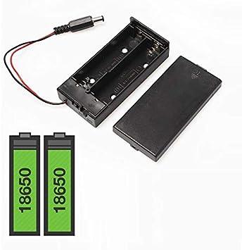 HAYATEC - Caja de Soporte para batería 18650 con Interruptor de Encendido/Apagado de CC, 2 x 18650 de Litio 1 Box with ON/Off Switch: Amazon.es: Electrónica