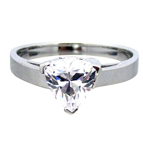 Silver Trillion Ring (SRTR6.5 .925 Sterling Silver 1ct Trillion Cut Clear CZ Basket Solitaire Ring)