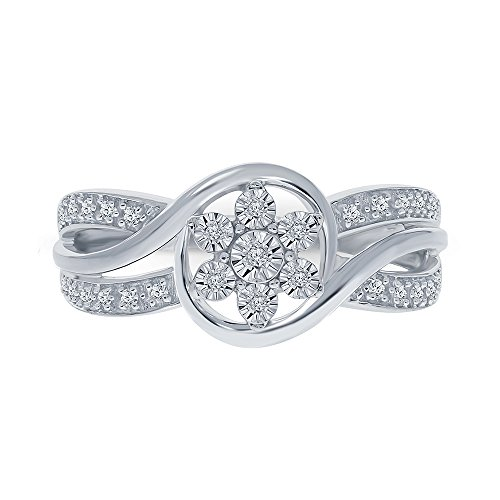 1/10ct Round White Diamond Sterling Silver Flower Ring Cluster Ring Criss Cross ()