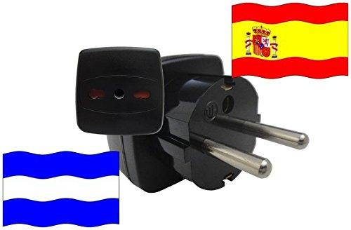 Adaptador de Viaje para España y El Salvador ES/SV Enchufe de Viaje (Contacto