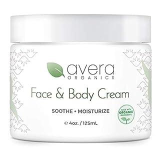 Natural Face and Body Cream Moisturizer – Organic Aloe Vera – Lotion for Dry Skin Eczema Psoriasis (4 ounces)