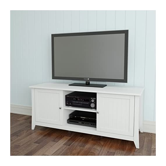 Nexera Vice Versa TV Stand , 58-Inch, White - 3 adjustable shelves / 6 storage sections 2 open spaces for electronic devices and home theatre central speaker 2 closed sections with adjustable shelves and doors to store all your DVDs, accessories, etc. - tv-stands, living-room-furniture, living-room - 41NVRQnVufL. SS570  -