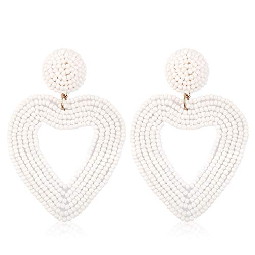 (Statement Beaded Drop Hoop Earrings for Women Handmade Heart Shape Novelty for Daily Holiday Party Meeting Club with gift box HLE135 White )