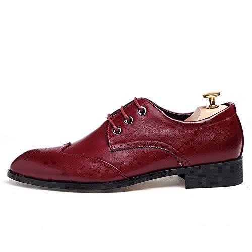 2018 Schuhe Herren Männer Spitz Schuhe Casual Einfache Trend Komfortable Klassische Spitzen Brogue Schuhe Für Hochzeit Business Formale Party Büro Kleid Hochzeit ( Color : Schwarz , Größe : 43 EU ) Wein