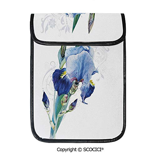 SCOCICI Simple Protective Shabby Chic Irises Bouquet Elegance Petals Botanic Beauty Florets Watercolor Art Decorative Pouch Bag Sleeve Case Cover for 12.9 inches Tablets (Simple Bouquet Elegance)