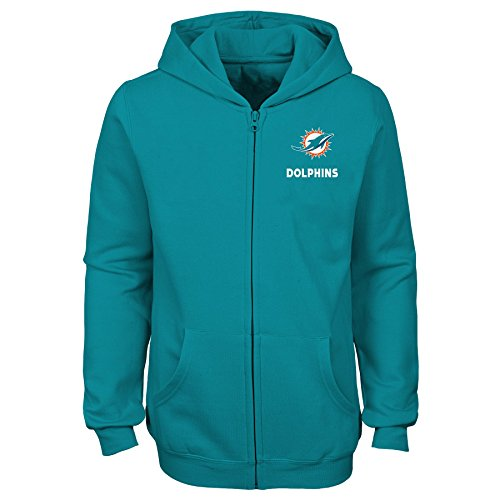 """NFL Miami Dolphins Youth Girls """"Status"""" Full Zip Hoodie Aqua, Youth Large(14)"""
