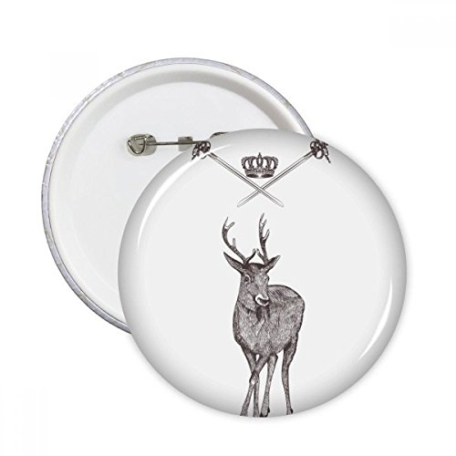 Elk Sword Crown Animal Black White Baroque Style Round Pins Badge Button Clothing Decoration Gift 5pcs Elk Sword