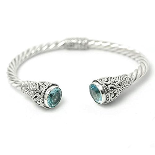 BluSilver 925 Sterling Silver Hinged Twisted Cable Cuff Bracelet Filigree Semiprecious Stone End Caps (Blue (Stone Colored Cap)