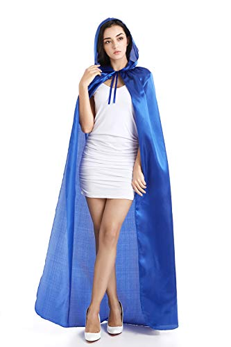 Crizcape Mens Womens Costume Cape Cloak Hooded Full Length (Blue) -