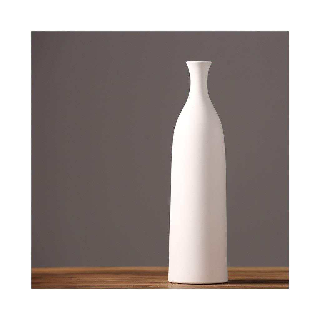 セラミック花瓶装飾モダンミニマリストクリエイティブ花瓶リビングルームダイニングルームテレビキャビネット装飾(ホワイト) (Size : 12.5cm*46.4c) B07SSBLB6F  12.5cm*46.4c