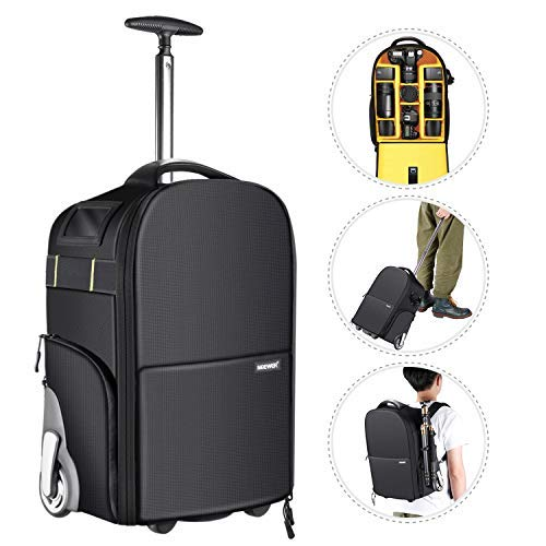 Neewer 2-in-1 Wheeled Camera Backpack Luggage Trolley Case - Anti-Shock Detachable Padded Compartment, Hidden Pull Bar and Strap, Durable, Waterproof for Camera, Tripod, Lens for Air Travelling ()