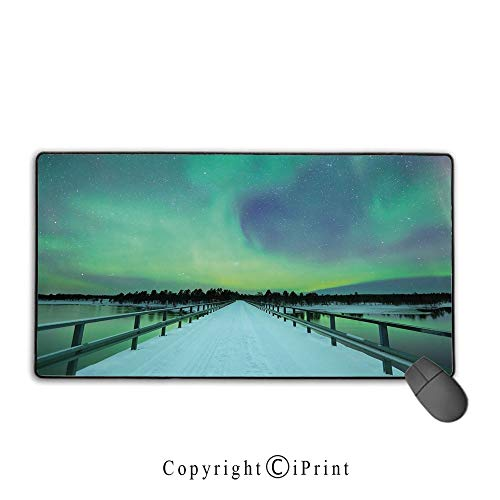 Mouse pad with Lock,Northern Lights,Long Mystic Sky Over Bridge in Snowy Arctic Frozen River Image,Lime Green Petrol Blue,Ideal for Desk Cover, Computer Keyboard, PC and Laptop,15.8