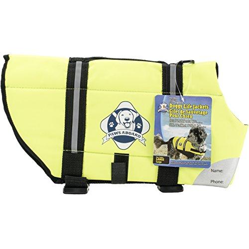 Paws Aboard Designer Doggy Life Jacket, Neon Yellow, Large