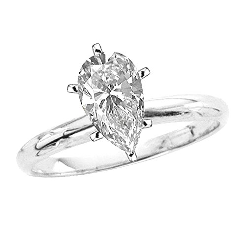 1 ct. J - SI2 Pear Cut Diamond Solitaire Engagement Ring in 14k White Gold ()