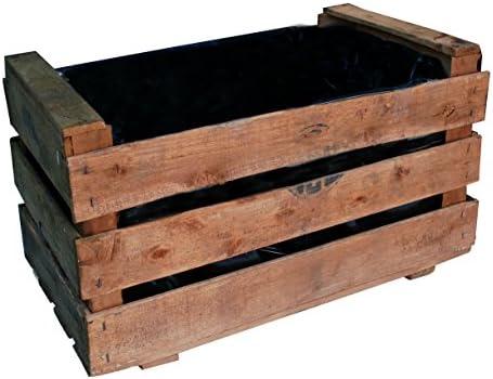 Caja de fruta antigua, jardinera de madera 50x30x27 cm VINTAGEBOX, color natural