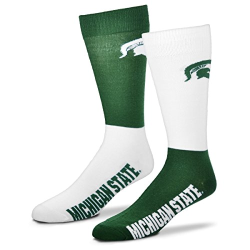 For Bare Feet Men's NCAA 4-Square Mismatch Dress Socks-Size Large (10-13) (Michigan State Spartans)