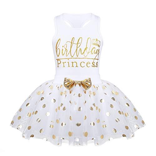 Toddler Kids Baby Girl's Birthday Outfits Princess Vest Sleeveless Shirt Mesh Tutu Skirt Set (Pink Birthday Princess, 4-5 Years Old) -