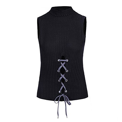 Bangerdei Women's Sexy Strip Sleeveless High Mock Neck Split Knit Lace Up Front Vest Elasticized Tank Slim Camisole Crop Ribbed Tank Top Black M