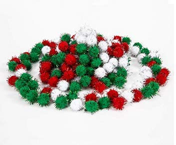 Sun Forever 150 Pieces Christmas Pom Poms Glitter Pom Balls Pompoms Crafts for Crafts Supply, 0.8 Inch, 3 Colors