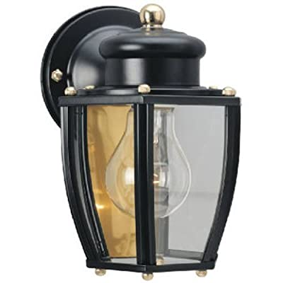 Ciata Decor 6696100 One-Light Exterior Wall Lantern, Matte Black Finish on Steel with Clear Curved Glass Panels