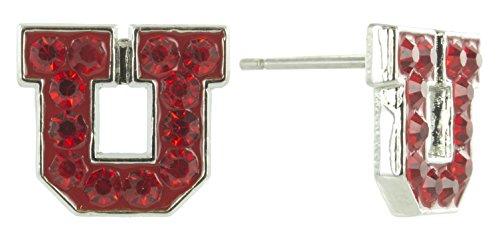 Mini Red Crystal Utah U Logo Stud Earrings