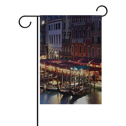 RH Studio Garden Flag Venice Italy Building House Evening Cafe Lights People Canal Gondola Boats 12x18 Inches(Without Flagpole)