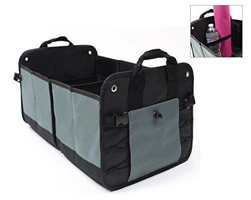 LK Auto Car Trunk Organizer Storage Cargo Box – Collapsible with Multiple Compartments for SUV Van or Truck Bed...