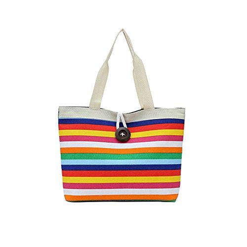 Plage pour Grande Shopping Sacs Bandoulière à Rayée Main Toile laamei Filles en à Vacances Capacité Sacs Multicolore Femme Jaune 7T6qZ1w