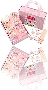 Baby Girl's Hair Clips, Bows, Elastic Ties, Ponytail Holder, Hairpins-18PCS Accessories Set For Babies Tod