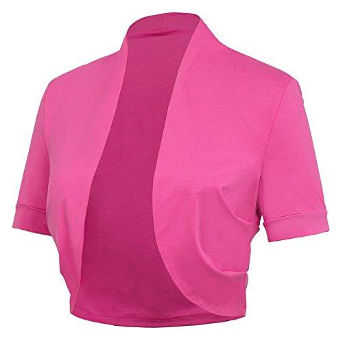 Pink Bolero - Basic Cotton Bolero Shrug for Teen Girls (L, Rose 215-6)